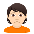 Person Frowning: Light Skin Tone on JoyPixels 6.5