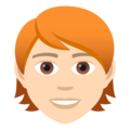 Person: Light Skin Tone, Red Hair on JoyPixels 6.5