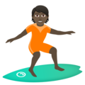 Person Surfing: Dark Skin Tone on JoyPixels 6.5