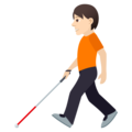 Person with White Cane: Light Skin Tone on JoyPixels 6.5