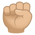 Raised Fist: Medium-Light Skin Tone on JoyPixels 6.5