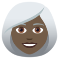Woman: Dark Skin Tone, White Hair on JoyPixels 6.5