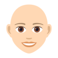 Woman: Light Skin Tone, Bald on JoyPixels 6.5