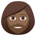 Woman: Medium-Dark Skin Tone, Beard on JoyPixels 6.5