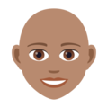 Woman: Medium Skin Tone, Bald on JoyPixels 6.5