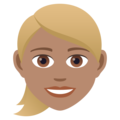 Woman: Medium Skin Tone, Blond Hair on JoyPixels 6.5