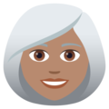 Woman: Medium Skin Tone, White Hair on JoyPixels 6.5