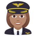 Woman Pilot: Medium Skin Tone on JoyPixels 6.5
