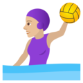 Woman Playing Water Polo: Medium-Light Skin Tone on JoyPixels 6.5