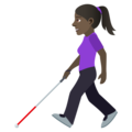 Woman with White Cane: Dark Skin Tone on JoyPixels 6.5