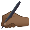 Writing Hand: Medium-Dark Skin Tone on JoyPixels 6.5