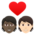 Couple with Heart: Person, Person, Dark Skin Tone, Light Skin Tone on JoyPixels 6.6