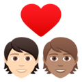 Couple with Heart: Person, Person, Light Skin Tone, Medium Skin Tone on JoyPixels 6.6