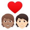 Couple with Heart: Person, Person, Medium Skin Tone, Light Skin Tone on JoyPixels 6.6