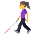 Woman with White Cane on JoyPixels 6.6