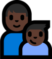 Family - Man: Dark Skin Tone, Boy: Dark Skin Tone on Microsoft Windows 10 Fall Creators Update