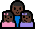Family - Man: Dark Skin Tone, Girl: Dark Skin Tone, Girl: Dark Skin Tone on Microsoft Windows 10 Fall Creators Update