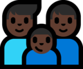 Family - Man: Dark Skin Tone, Man: Dark Skin Tone, Boy: Dark Skin Tone on Microsoft Windows 10 Fall Creators Update