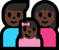 Family - Man: Dark Skin Tone, Woman: Dark Skin Tone, Girl: Dark Skin Tone on Microsoft Windows 10 Fall Creators Update