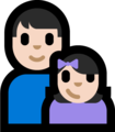 Family - Man: Light Skin Tone, Girl: Light Skin Tone on Microsoft Windows 10 Fall Creators Update