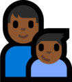 Family - Man: Medium-Dark Skin Tone, Boy: Medium-Dark Skin Tone on Microsoft Windows 10 Fall Creators Update