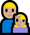 Family - Man: Medium-Light Skin Tone, Girl: Medium-Light Skin Tone on Microsoft Windows 10 Fall Creators Update