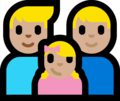 Family - Man: Medium-Light Skin Tone, Man: Medium-Light Skin Tone, Girl: Medium-Light Skin Tone on Microsoft Windows 10 Fall Creators Update