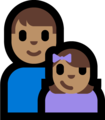 Family - Man: Medium Skin Tone, Girl: Medium Skin Tone on Microsoft Windows 10 Fall Creators Update