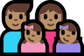 Family - Man: Medium Skin Tone, Woman: Medium Skin Tone, Girl: Medium Skin Tone, Girl: Medium Skin Tone on Microsoft Windows 10 Fall Creators Update