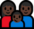 Family - Woman: Dark Skin Tone, Man: Dark Skin Tone, Boy: Dark Skin Tone on Microsoft Windows 10 Fall Creators Update