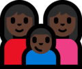 Family - Woman: Dark Skin Tone, Woman: Dark Skin Tone, Boy: Dark Skin Tone on Microsoft Windows 10 Fall Creators Update