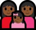 Family - Woman: Medium-Dark Skin Tone, Woman: Medium-Dark Skin Tone, Girl: Medium-Dark Skin Tone on Microsoft Windows 10 Fall Creators Update
