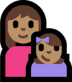 Family - Woman: Medium Skin Tone, Girl: Medium Skin Tone on Microsoft Windows 10 Fall Creators Update