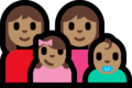Family - Woman: Medium Skin Tone, Woman: Medium Skin Tone, Girl: Medium Skin Tone, Baby: Medium Skin Tone on Microsoft Windows 10 Fall Creators Update