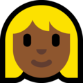 Blond-Haired Woman: Medium-Dark Skin Tone on Microsoft Windows 10 October 2018 Update