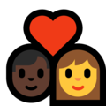 Couple With Heart - Man: Dark Skin Tone, Woman on Microsoft Windows 10 October 2018 Update
