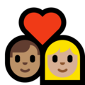Couple With Heart - Man: Medium Skin Tone, Woman: Medium-Light Skin Tone on Microsoft Windows 10 October 2018 Update