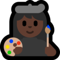 Woman Artist: Dark Skin Tone on Microsoft Windows 10 October 2018 Update