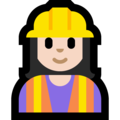 Woman Construction Worker: Light Skin Tone on Microsoft Windows 10 October 2018 Update