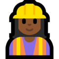 Woman Construction Worker: Medium-Dark Skin Tone on Microsoft Windows 10 October 2018 Update