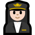 Woman Pilot: Light Skin Tone on Microsoft Windows 10 October 2018 Update