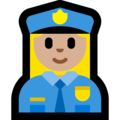 Woman Police Officer: Medium-Light Skin Tone on Microsoft Windows 10 October 2018 Update