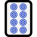 Mahjong Tile Eight of Circles on Microsoft Windows 10 October 2018 Update