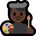 Man Artist: Dark Skin Tone on Microsoft Windows 10 October 2018 Update