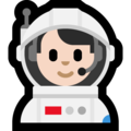 Man Astronaut: Light Skin Tone on Microsoft Windows 10 October 2018 Update