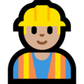Man Construction Worker: Medium-Light Skin Tone on Microsoft Windows 10 October 2018 Update