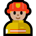 Man Firefighter: Medium-Light Skin Tone on Microsoft Windows 10 October 2018 Update
