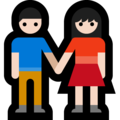 Woman and Man Holding Hands: Light Skin Tone on Microsoft Windows 10 October 2018 Update