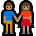 Woman and Man Holding Hands: Medium Skin Tone on Microsoft Windows 10 October 2018 Update