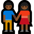 Woman and Man Holding Hands: Medium-Dark Skin Tone on Microsoft Windows 10 October 2018 Update